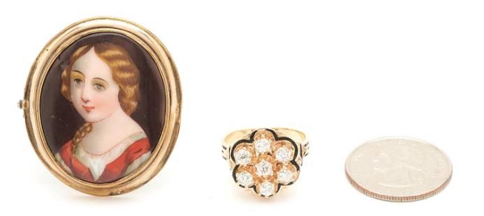14K Antique Cluster Diamond Ring & Porcelain Portrait