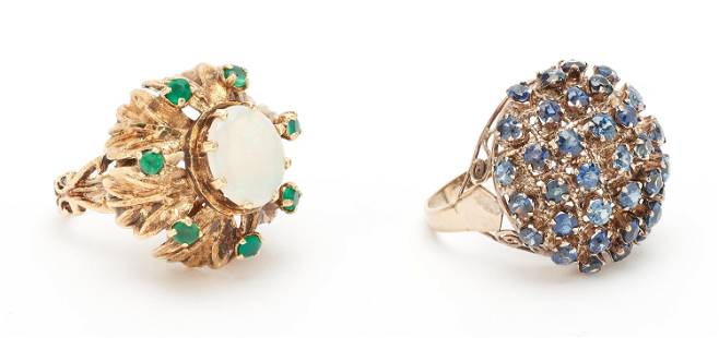 2 Vintage 14K Gold Ladies Rings with Sapphires, Opal &
