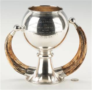 Watson Sterling Trophy Cup w/ Horn Handles, dated 1913