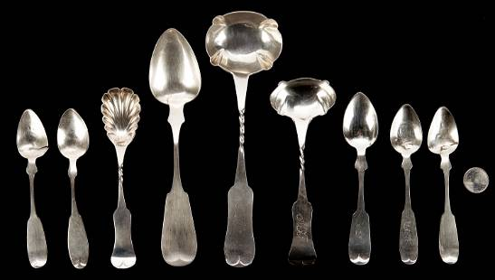 9 Pcs. J.B. Akin coin silver, Danville, KY