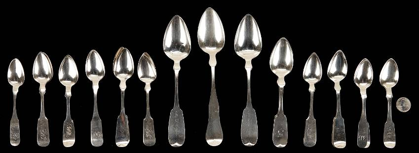 24 American coin silver spoons, incl. Baltimore