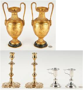 Pair Neo-Classical Urns plus Sterling and Brass