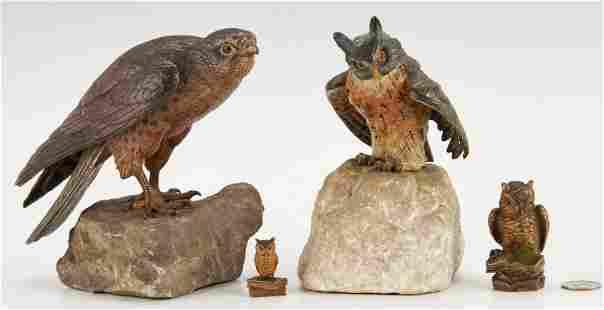 4 Bronze Sculptures of Birds, incl. Franz Xavier