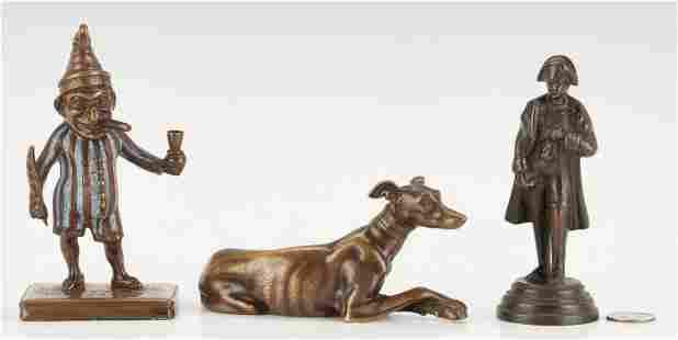 3 Small European Bronze Figures, incl. Napoleon