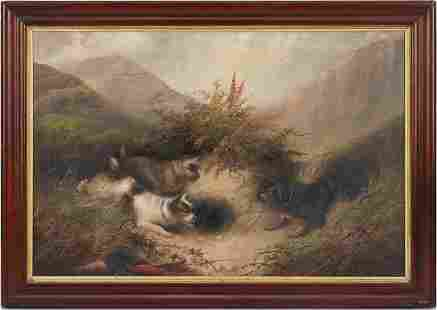 George Armfield O/C Painting, English Dog Hunting Scene