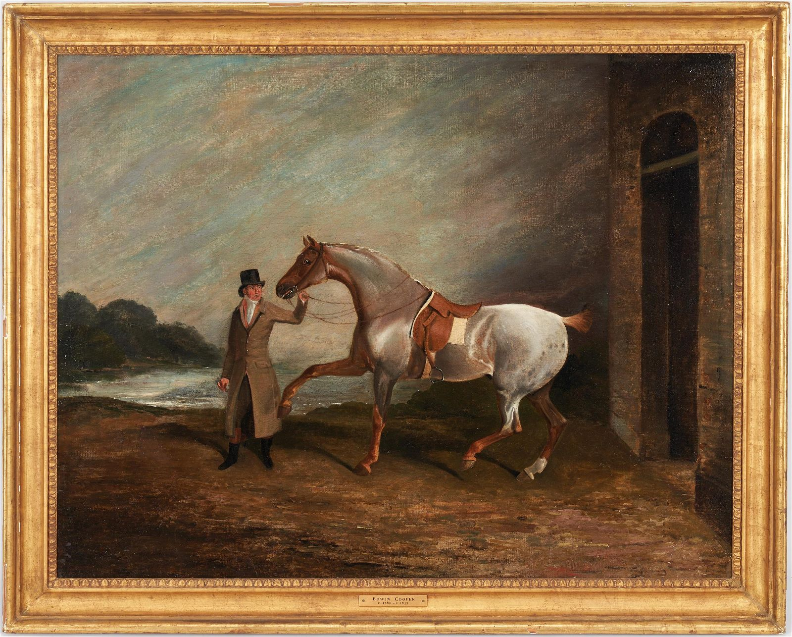Edwin Cooper O/C Equestrian Painting, Gentleman with a