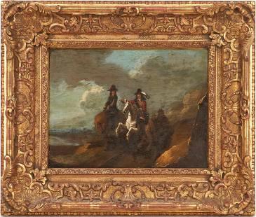 European School O/B Painting, Men on Horseback