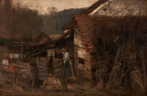 Joseph Charles Francois Oil Landscape with Cabin