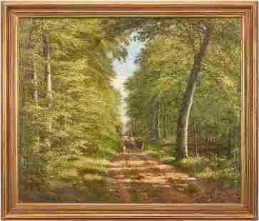 Large Carl Carlsen O/C Landscape Painting, Shepherd in