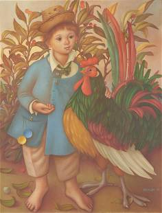 Philippe Henri Noyer O/C Painting, Boy w/ Rooster