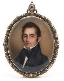 Anna Peale Signed Miniature Portrait of a Gentleman,