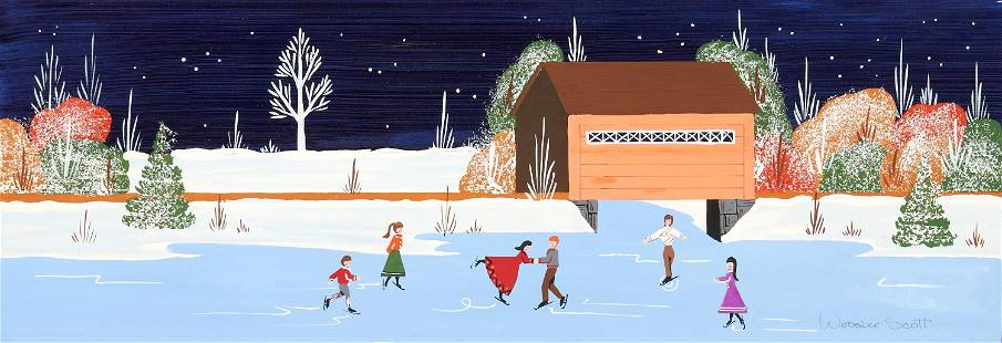 Jane Wooster Scott Gouache Painting, Winter Scene