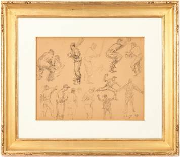 Clyde Singer Drawing, Baseball Players