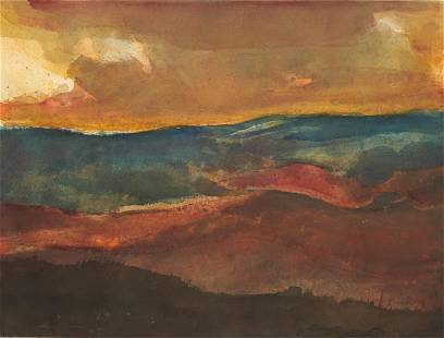 Carl Sublett W/C Expressionist Painting, Mountain Range