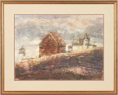 Carl Sublett W/C Painting, Light House & Houses on a