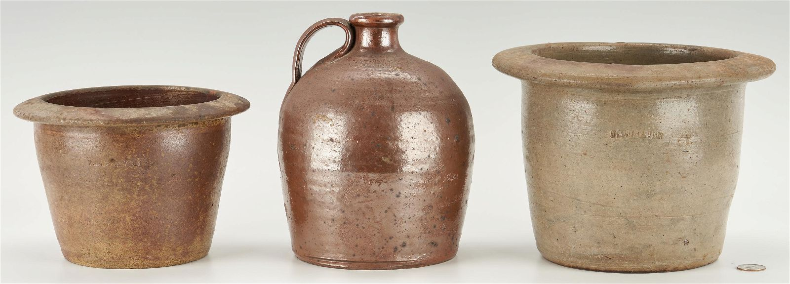 3 NC Stoneware Items, incl. Hancock Jug, Craven Cream