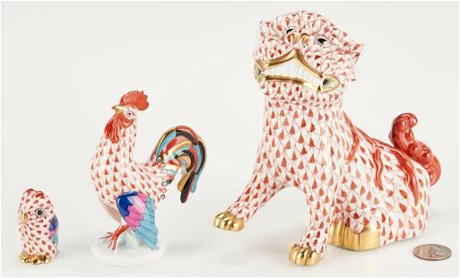 3 Herend Porcelain Figurines, incl. Temple Lion,