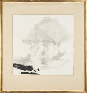 Carl Sublett Drawing, Couple w/ Gazebo