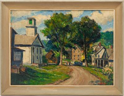 William Fisher O/C, Plymouth, VT Street Scene with