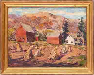 William Fisher O/C Painting, Fall Landscape with