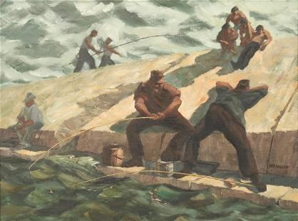 WPA O/B Painting, The Fishermen, Milwaukee
