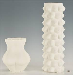 2 Jonathan Adler White Ceramic Vases