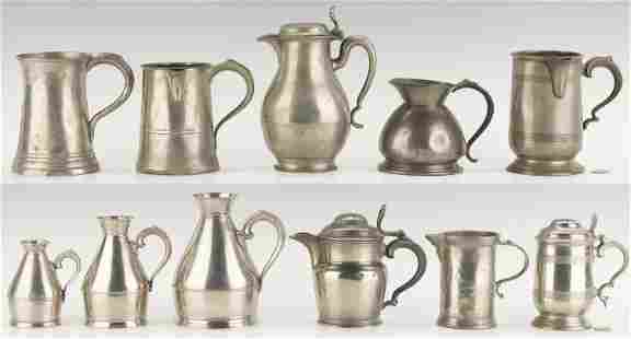11 Pcs. Pewter Flagons, Tankards, Jugs and Measures
