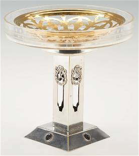 Tiffany Flower Frog and WMF Silverplated Compote, 3 pcs