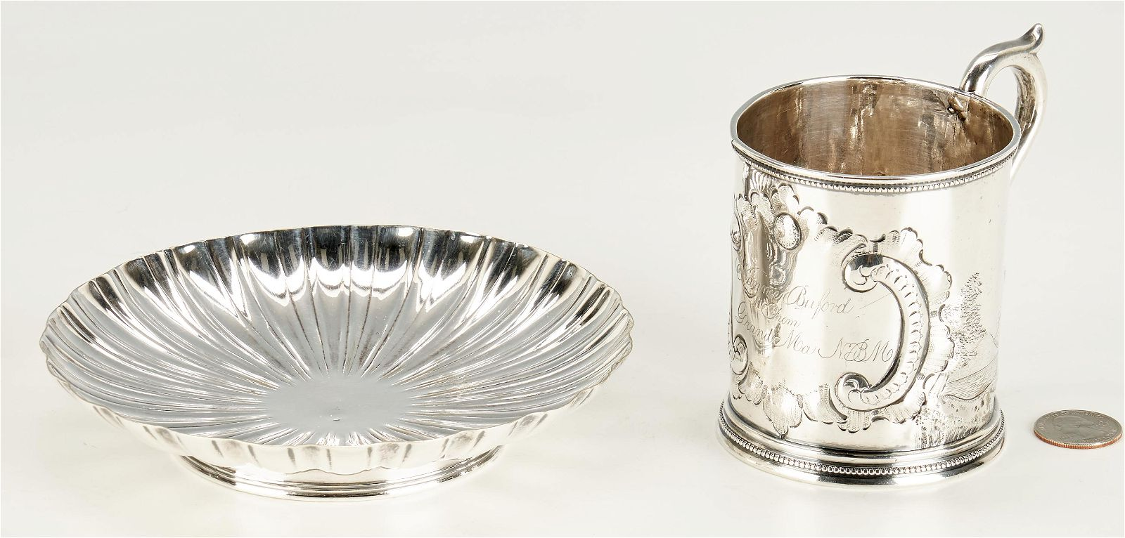 19th C. Sterling Silver Scenic Mug & Fluted Silver