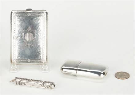 3 Sterling Silver Items, Purse, Pen, & Flask