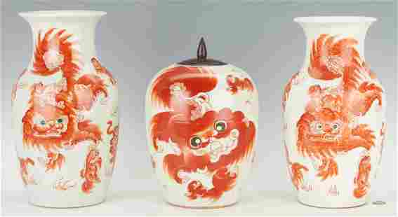 3 Chinese Iron Red Foo Dog Porcelain Items