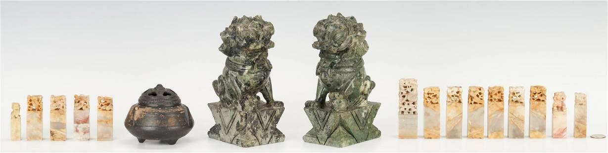 Asian Hardstone Seals, Foo Dogs & Ceramic Censer -17