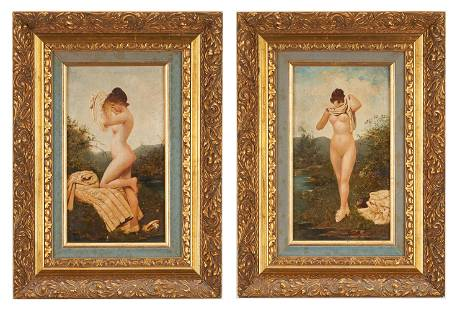 2 O/P Nude Paintings, Manner of Adolphe Frederic