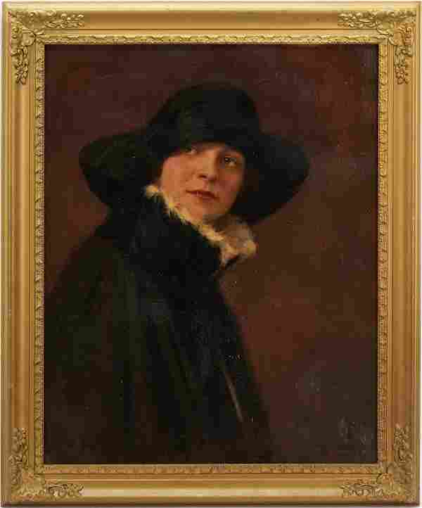 American School O/C Painting of Woman in Black, Signed