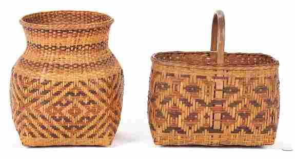 2 Early Native American Cherokee Rivercane Baskets