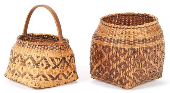 2 Native American Cherokee Rivercane Baskets