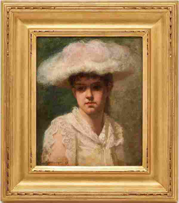 Oil Portrait of a Young Woman signed Bannister