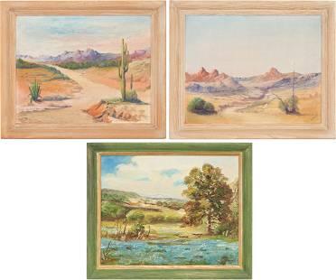 3 American School O/B Paintings, Western Landscapes
