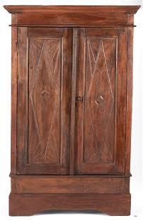 Primitive Walnut Carved Cupboard