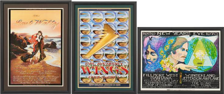 3 Rock Posters: Santana, The Band, McCartney & Wings
