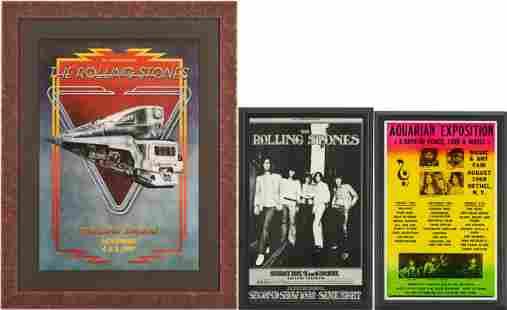 3 Concert Posters, incl. 1969 Woodstock, Rolling Stones