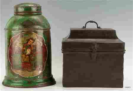 2 Toleware Items, incl. Scottish Advertising Tea Tin &