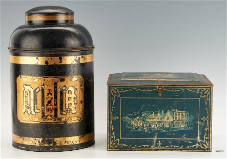 2 Toleware Painted Advertising Items, Tea Tin & Biscuit