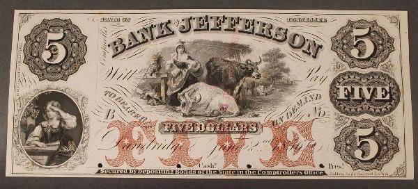 6: $5 Obsolete Currency Note, Bank of Jefferson, Dandri