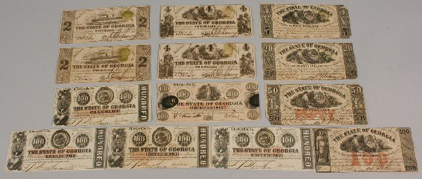 7:  13 Obsolete Currency Notes, Georgia
