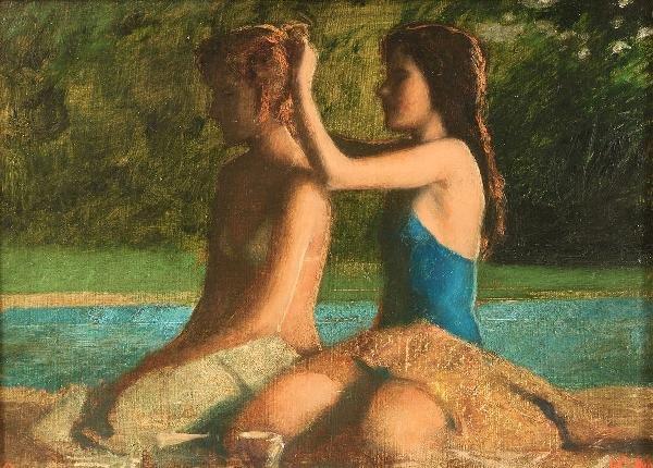 21: Bo Bartlett, Oil on Board, Girls by a Pool