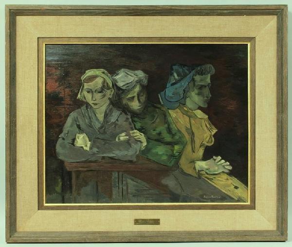 24: Andree Ruellan Oil on Canvas, Three Women