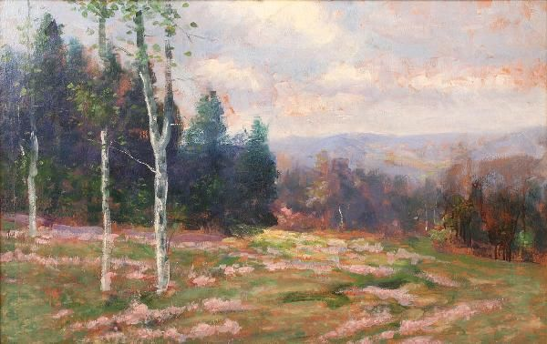 33: Tennessee Spring Landscape, early 20th c. oil on bo