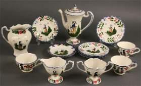 "418: Blue Ridge Porcelain, ""French Peasant"" pattern, 29"