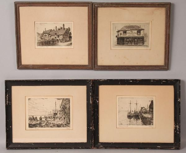 Albert Edel and Cecil Forbes, lot of 4 etchings